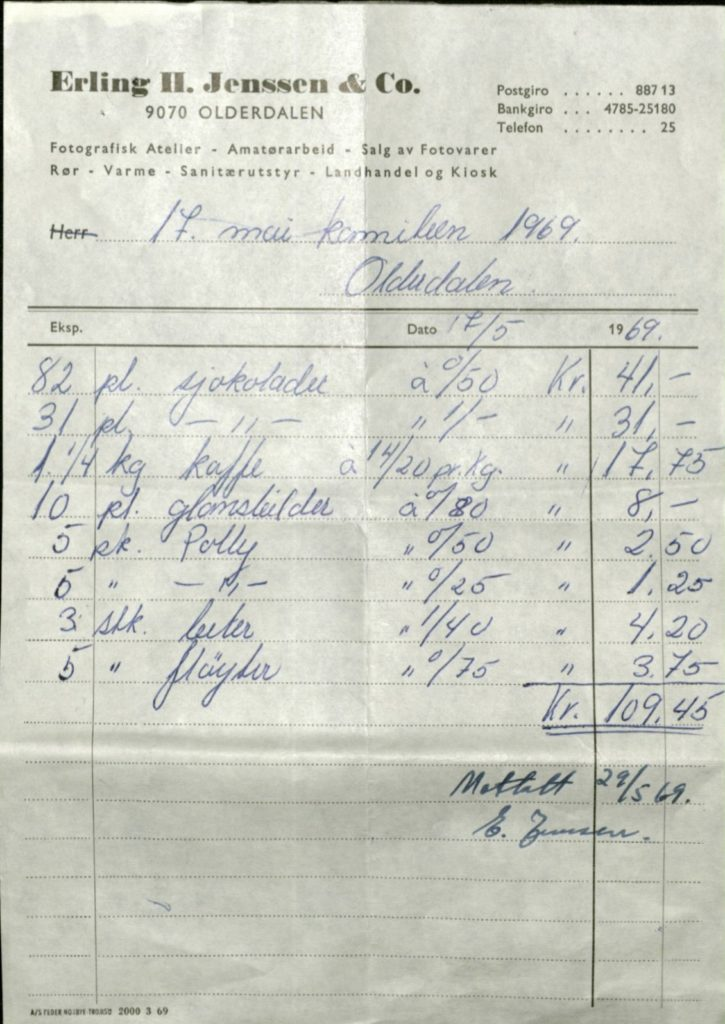 Kvittering fra 17. mai-komiteen i Olderdalen, 1969. Kåfjord kommune. Foto: Arkiv Troms