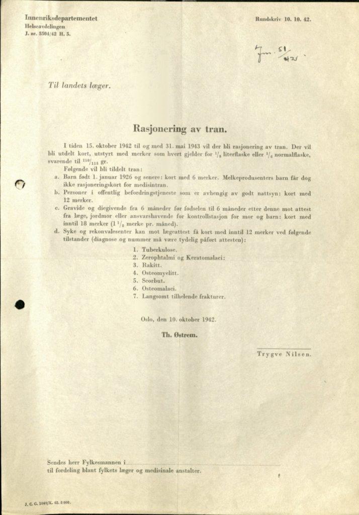En næringsrik kost var viktig i behandlingen av syke. Tuberkulose var én av totalt syv sykdommer som ga ekstrarasjoner av tran til de syke. Salangen tuberkulosehjem, Salangen kommune Foto: Arkiv Troms
