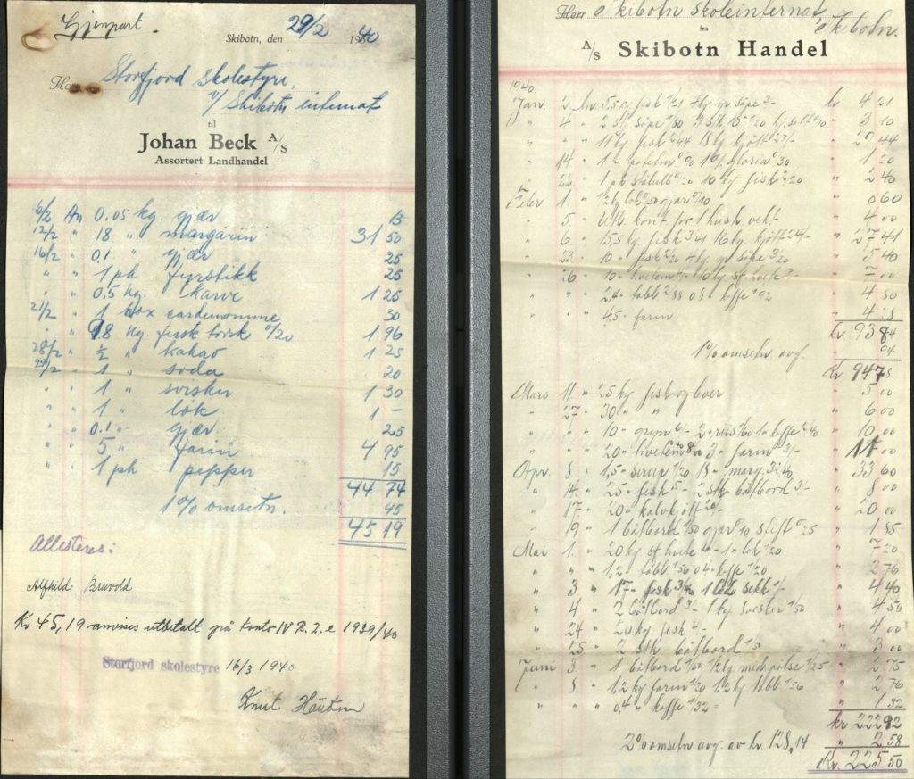 Kvitteringer på varer som er handlet inn av Skibotn skoleinternat i 1940. Storfjord skolestyre, Storfjord kommune Foto: Arkiv Troms