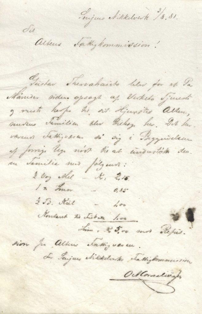 I 1881 fikk en familie hjelp fra fattigkommisjonen til Senjen Nikkelverk. Senjen Nikkelverk fattigkommisjon, Berg kommune Foto: Arkiv Troms