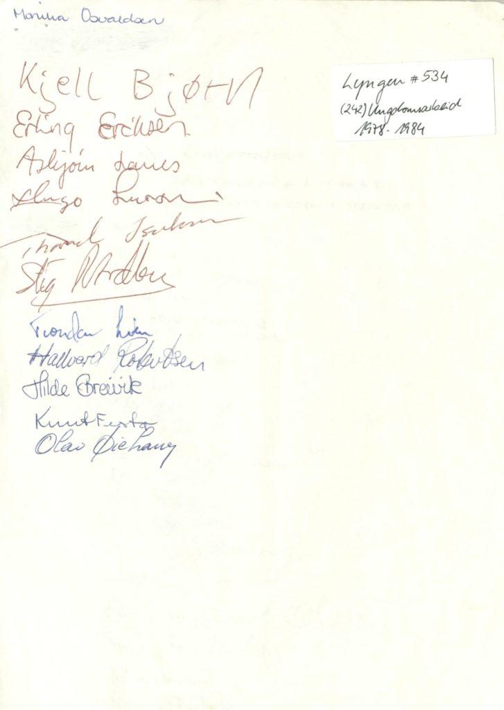 Underskriftskampanje for å få ungdomsklubb på Lyngseidet. Ungdomsarbeid 1978 -1984, Lyngen kommune. Foto: Arkiv Troms