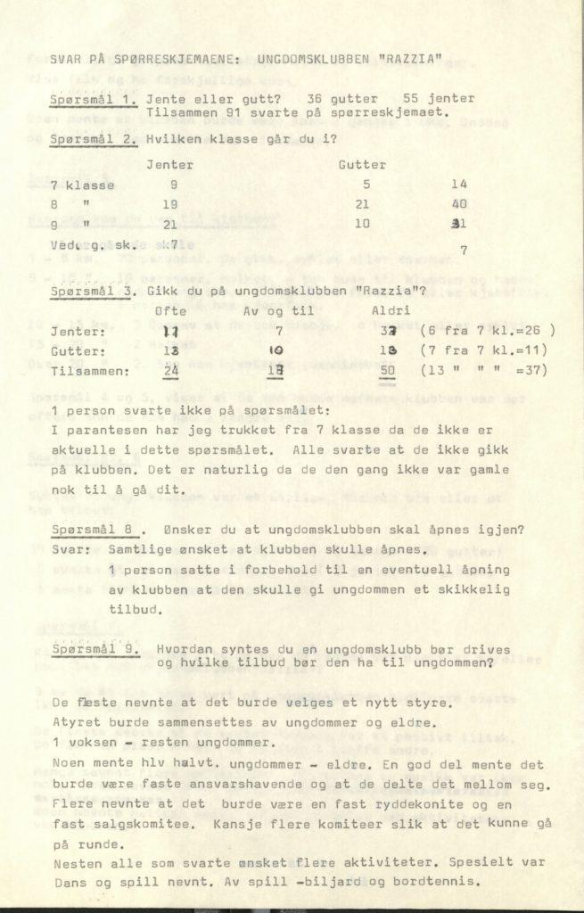 Svar på spørreskjema delt ut til ungdommen i Lyngen kommune, angående tilbud om ungdomsklubb. Lyngen kommune, Foto: Arkiv Troms