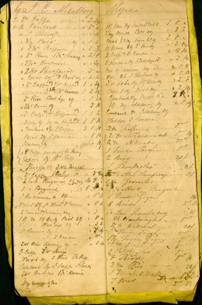 Kjøpmannen hadde en egen bok som han førte opp hva kunder handlet på kreditt. I 1874 ser vi at denne kunden blant annet kjøpte kaffe, hvetemel, ris, kandis, rugmel, byggmel, , gryn, brød og grønnerter. Arkiv etter Kjøpmann Kavlie, Ibestad kommune. Foto: Arkiv Troms