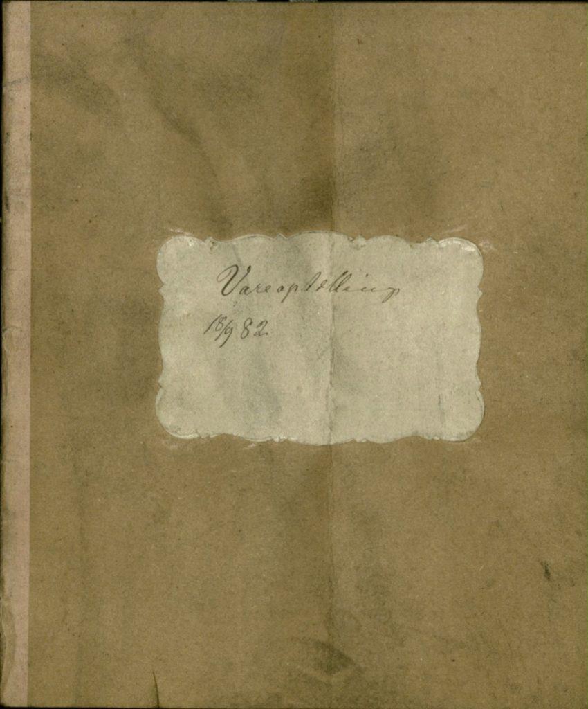 Kjøpmannens vareopptelling i 1882.  Arkiv etter kjøpmann Kavlie, Ibestad kommune Foto: Arkiv Troms