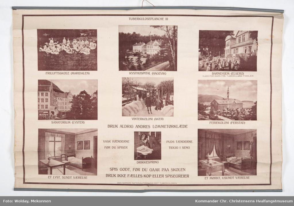 Plansje med hygieniske regler og bilder av institusjoner for tuberkulosepasienter. Kommandør Chr. Christensens Hvalfangstmuseum, Sandefjordmuseene. Lisens: cc by-sa