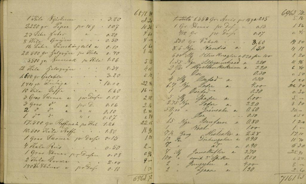 Matvarer i 1882: pepper, gryn, sagogryn, kaffe, ris, anis og kandis. Arkiv etter kjøpmann Kavlie, Ibestad kommune Foto: Arkiv Troms